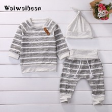 3Pcs/Set ! Baby Clothing Sets  New Autumn Boys Clothes Infant Striped Tops T-shirt+Pants Leggings 2pcs Outfits Set
