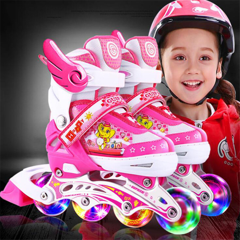 Free Shipping Adjustable Flashing Children Kids Roller Skate Shoes Helmet Knee Elbow Protector Inline Skates Shoes Washable new kids children professional inline skates skating shoes adjustable washable flash wheels sets helmet protector knee pads gear