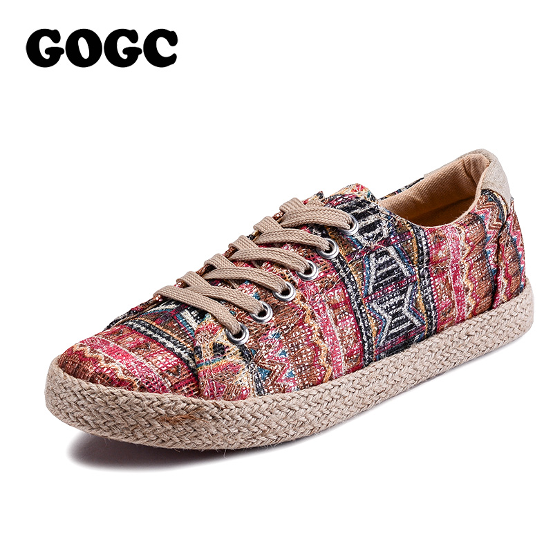 GOGC 2018 New Style Fashion Casual Shoes Women Lace Up Comfortable Breathable Women Sneakers Female Footwear Flat Casual Shoes 2018 new casual leather sneakers red black lace up comfortable footwear women sneakers shoes 6 5cm