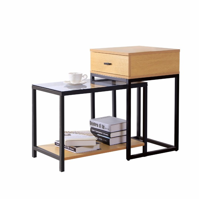 Lifewit 2 piece nesting side accent table set with drawer lifewit 2 piece nesting side accent table set with drawer combination extension slide end watchthetrailerfo