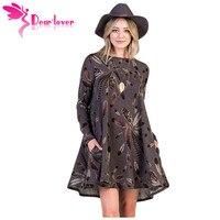 Dear Lover Dài Tay Áo Dresses Mùa Đông Văn Phòng Lông Cà Phê Đồ Họa Pocket Áo Mini Ăn Mặc Roupa Casual Vestido A-Line LC220210