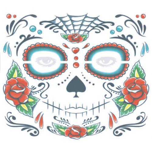 2 Pc/set Zombie Hari Orang Mati Halloween Tato Sementara Masker Kostum Sugar Skull Stiker
