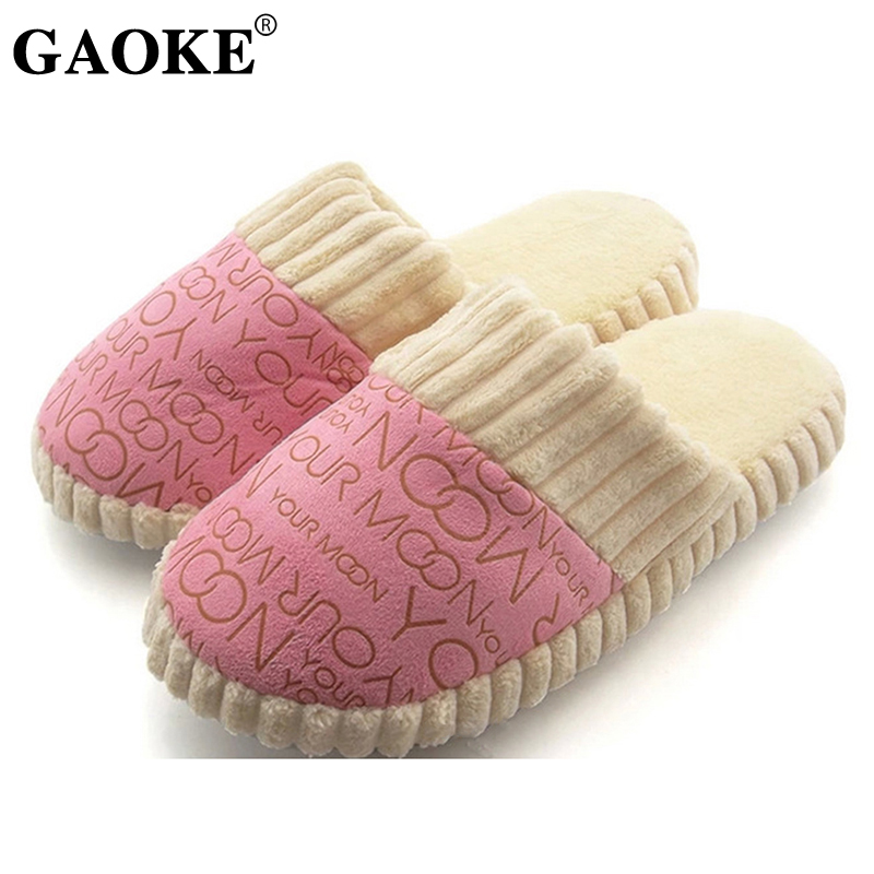 2018 Autumn Winter Warm Non-Slip Slipper Men Women Cotton-padded Home Slippers Rubber Sole Sewing Indoor Soft Plush Shoes