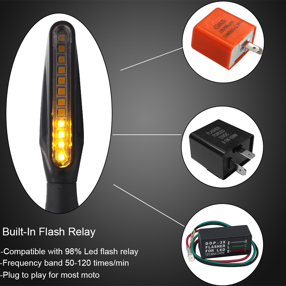 2pcs 12 LED Motorcycle Turn Signal Lights Flowing Flashing Motorbike Indicator Blinker Moto Tail Lights Signal Lamp for Harley