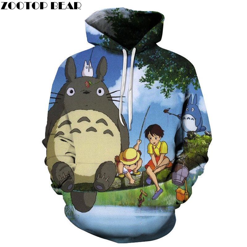 Hot Sale 3D Hoodie Unisex Totoro Hoodie Sweatshirts Men Women Pullover Fashion Tracksuits Brand Sweatshirt Drop Ship ZOOTOP BEAR