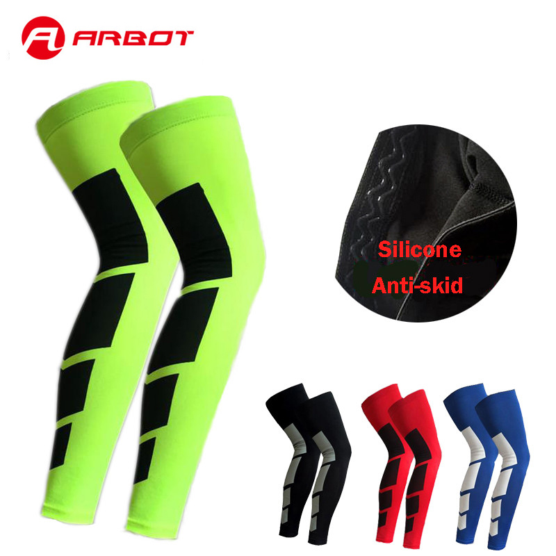 ARBOT 1PCS Pro Sports Silicone Antiskid Long Knee Support Brace Pad Protector Sports Basketball Leg Sleeve Knee Pad 6 Colors
