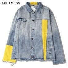 Aolamegs Denim Jacket Men Patchwork Color Couple Cowboy Casual Men's Jacket Rough Selvedge High Street Fashion Outwear Men Coat