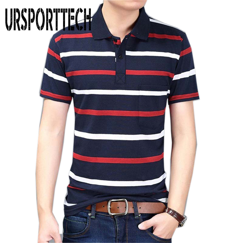 Summer New 2019 Brand Mens   Polo   Shirt Men Casual Short-sleeved   Polos   Turn Down Collar Striped Cotton Male   Polo   Shirts Hot Sale