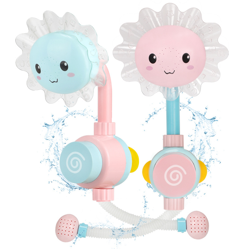Baby Sunflower Bath Toy Bathtub Showers Bathing Spouts Suckers Folding Spray Faucet Play Bathroom Sun Flower Water Toys