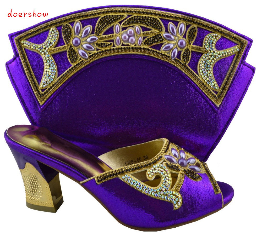 doershow Top quality Italian ladies shoes and matching bag set,latest style African shoes and bag with rhinestones! !HZL1-19 new arrival design italian shoes with matching bags set nice quality african shoes and bag sets with rhinestones hlu1 17