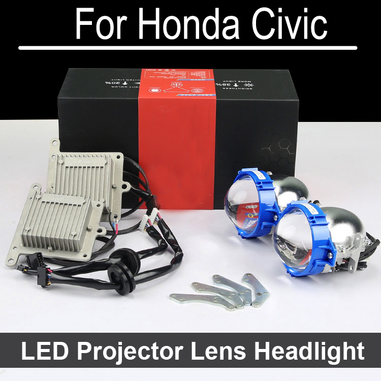 Error Free Hi Low LED Projector lens headlight Assembly  For CIVIC with halogen headlamp ONLY Retrofit Upgrade (2004-2015) bi xenon car led projector lens assembly for mercedes benz m w163 w164 with halogen headlight only retrofit upgrade 1998 2008