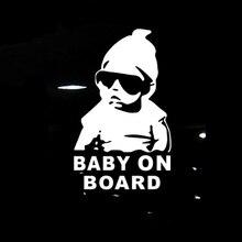 14*9 см детские на борте крутые задние светоотражающие солнцезащитные очки детские автомобильные наклейки предупреждающие надписи черный/серебристый CT-465