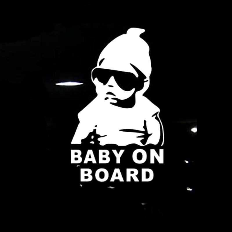 14*9CM BABY AN BORD Kühle Rear Reflektierende Sonnenbrille Kind Auto Aufkleber Warnung Decals Schwarz/Silber CT-465