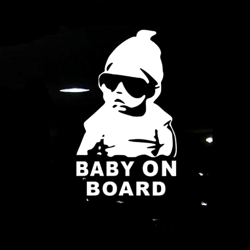 Sunglasses Car-Stickers Warning-Decals On-Board Reflective Cool Rear BABY Black/silver title=