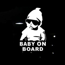 14*9CM BABY ON BOARD Cool Rear Reflective Sunglasses Child Car Stickers Warning Decals Black/Silver CT-465(China)