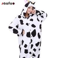 Cute Cow Adult Hoodie Winter Kigurumi Onesie Women Cartoon Pajamas Couple Pyjama Anime Bodysuit Pijama Animal