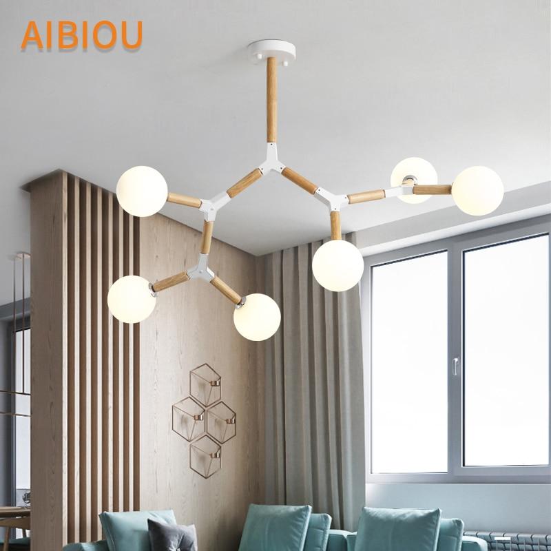 AIBIOU Creative Nordique LED Lustre Avec Boule De Verre Pour Salon Chambre Lustres En Bois G9 Éclairage Appareils