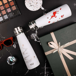Image 3 - Youpin KKF בקבוק ואקום נייד תרמוס כוס נסיעות ספל 304 נירוסטה עם אבץ סגסוגת כף יד טבעת 3 דפוסים