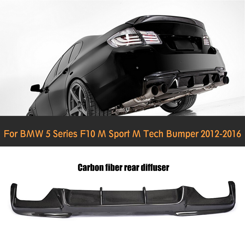 Carbon Fiber Rear Bumper Diffuser Lip For BMW F10 5 Series M Sport Sedan 12-16 Black FRP V Style dual exhaust two out 535i 550i