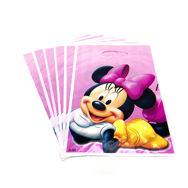 6pcs Disney Minnie Mouse Theme Plastic Gift Bags Child Birthday Party Loot Bag Supply Baby Shower