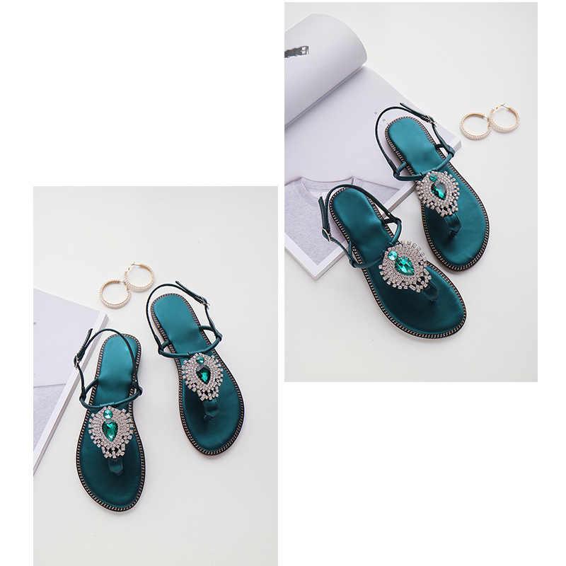 CEYANEAO femmes Zoris cristal été boucle sandales vert noir chaussures chaussures plates grande taille 34 42 Elite marque 2019 nouvelle mode