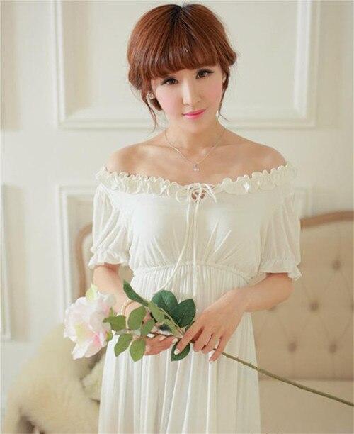 Doprava zdarma Kulatý výstřih Bílé dlouhé šaty elegantní žena pohodlná modální noční košile, volánky kotníkové délky z jednoho kusu vestibulu