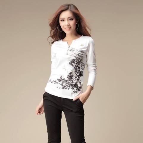 inverno a 2015 stampato con scollo donna T autunno V shirt da qHzp1xx7tn