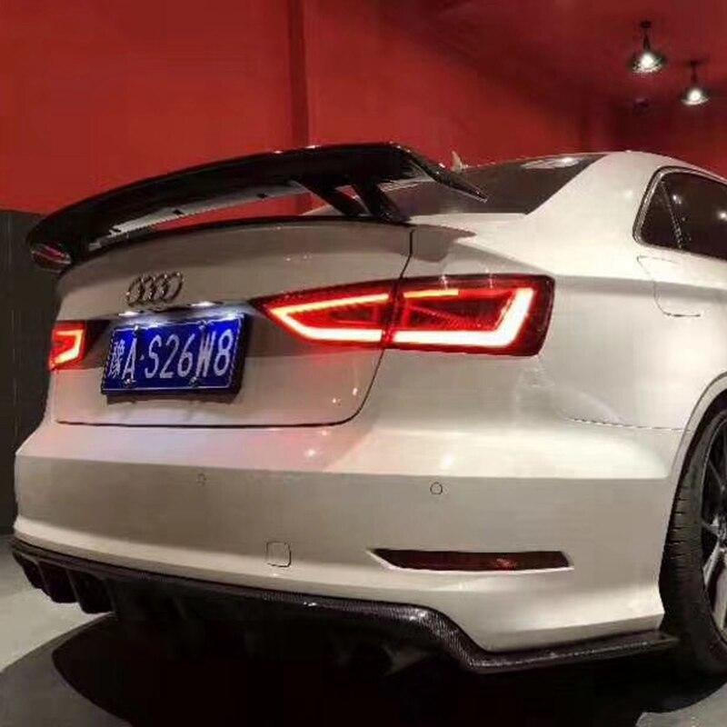Karbon Fiber evrensel tarzı arka bagaj kanat Spoiler için Audi A3 S3 A4 A5 A6 A7 TT kuyruk Boot dudak kanat Spoiler