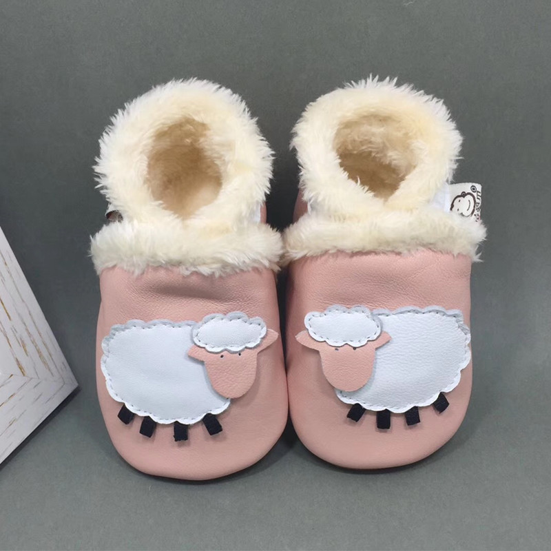 Adela Flower Baby Girl Winter Shoes Pink Leather White Sheep Baby Boots Baby Shoes For Boy Soft Sole Antislip Toddler Moccasins