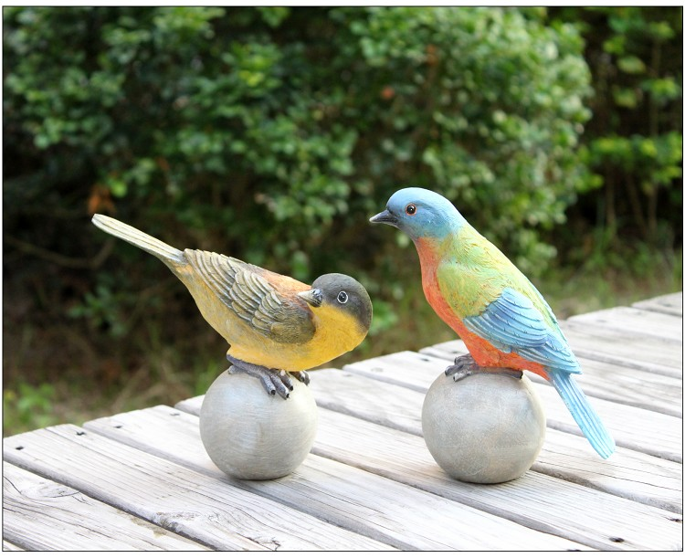 Américain pays extérieur patio ensemble pièce jardin décoration de la maison résine simulation animal amour oiseaux cadeaux maison