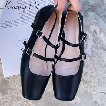 Krazing Pot 2019 natural leather buckle strap low heels loafers ballet shoes vintage British school Mary Janes dating pumps L12