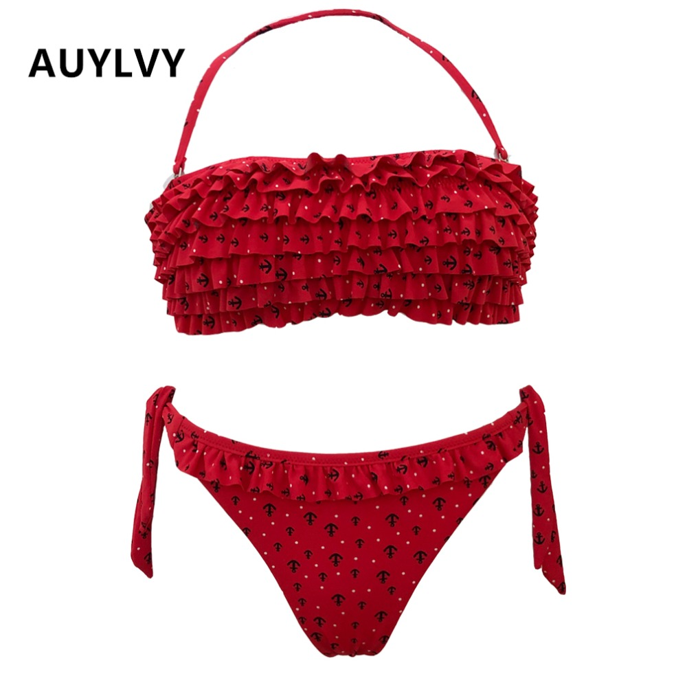 AUYLVY Biquini 2019 Ruffled Swimsuit Women Ruffled Bandage Split Halter Shower SwimwearSet BeachwearPrint Ruffle Bikini Push Up