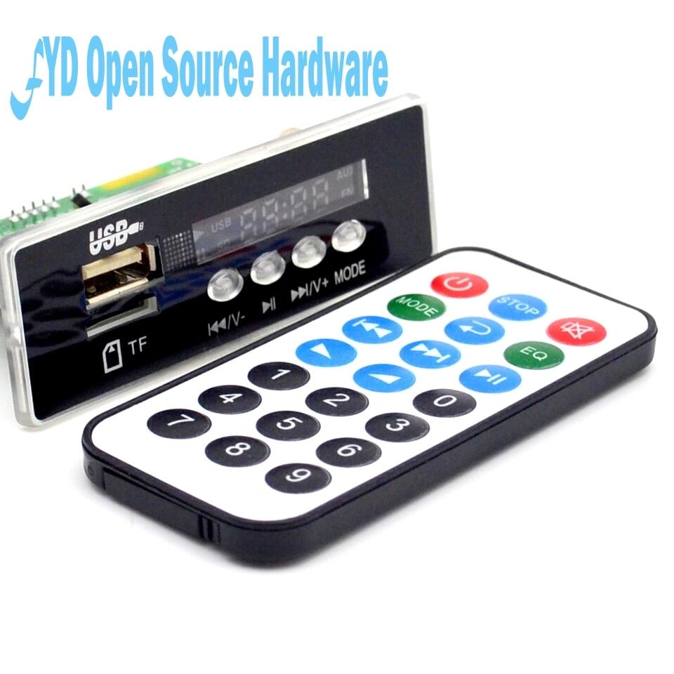 En gros 7 ~ 12 V De Voiture Mains Libres Bluetooth MP3 APE décodage conseil avec Bluetooth module FM MP3 KIT LED USB Audio carte décodeur DIY