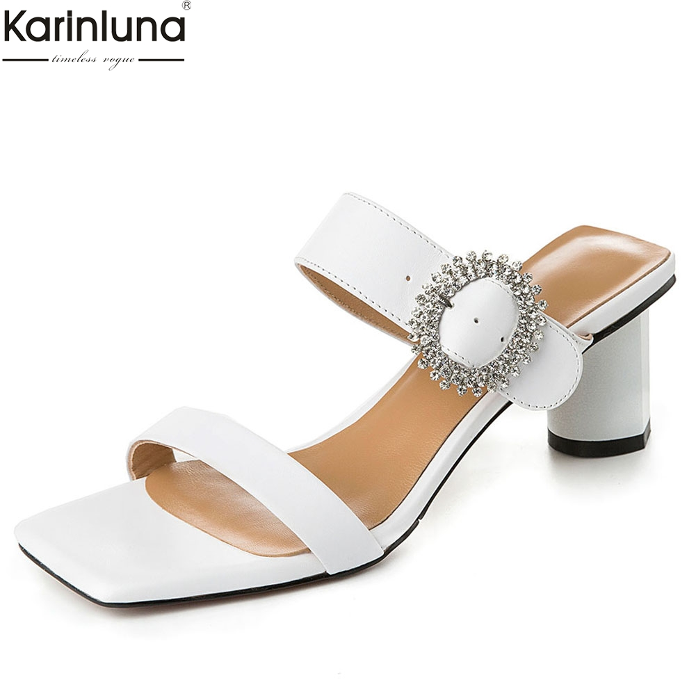 Summer Women Shoes Big Size 42 Genuine Leather Fashion Crystal Elegant Party Sandals Shoes Woman Mules