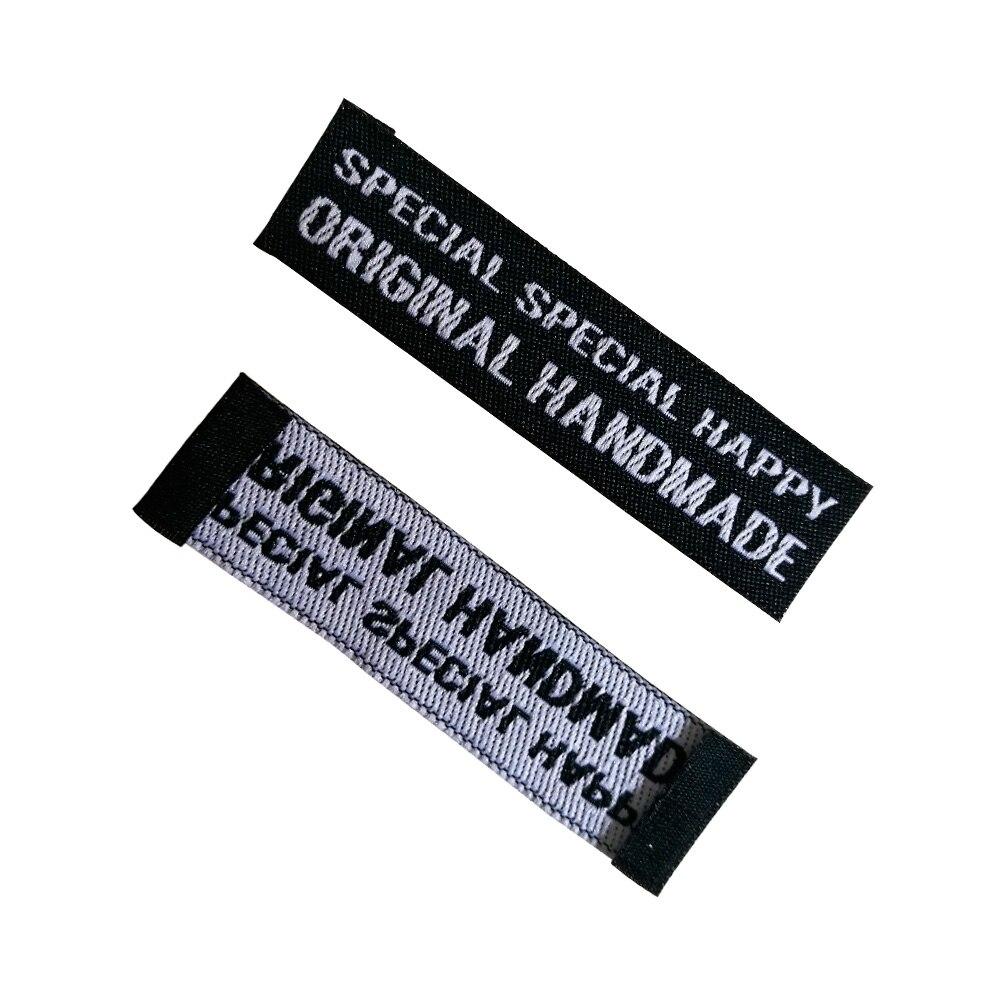 Angepasst nähen etiketten für kleidung personifizierte gewebtes etikett bekleidungs Weben tag mit eigenen logo handgemachte stoff tags