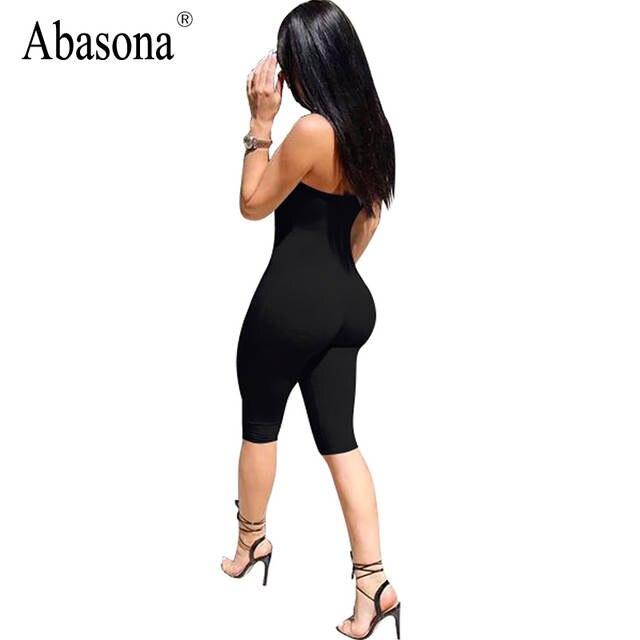 6110c8483bf placeholder Abasona Strapless black solid spandex playsuits Off shoulder  summer shorts rompers womens jumpsuit backless female bodysuits