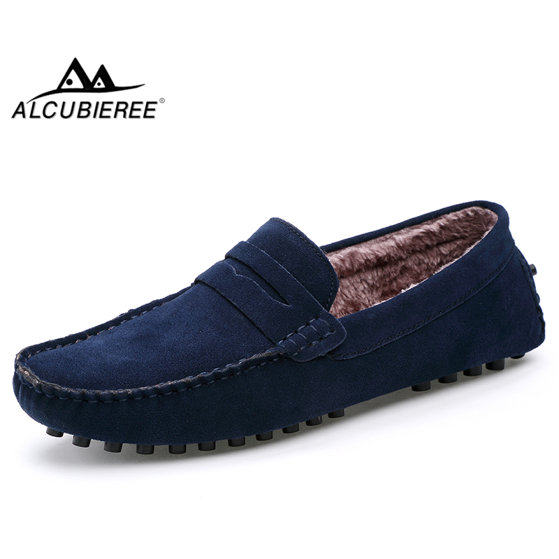 ALCUBIEREE Winter Warm Penny Loafers Mens Casual Fur Lined Moccasins Male Comfort Slip-on Driving Boat Shoes Chaussures Hommes