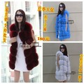 Long Real Fox Fur Vest for women Cotton-liner Sleeveless Natural Fur Waistcoat Winter Slim Genuine Fur Jacket