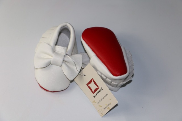 Hongteya New Patent leather Red bottom sole Baby Moccasins baby boys girls Shoes with bow-tie Infant toddler first walkers