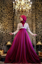 2016 Muslim Evening Dresses A-line Long Sleeves Royal Blue Lace Hijab Islamic Dubai Long Evening Gown Prom Dress