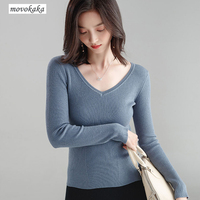 MOVOKAKA Sweaters Full Sleeve Knitwea Sweater Wool V Neck Solid Sweater Bottoming Shirt Sweaters Winter Woman 2018 Slim Pullover