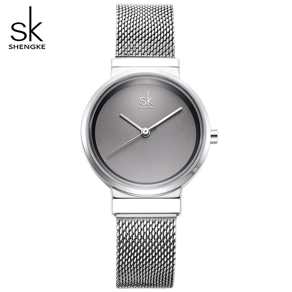 fdc1b32d383 SHENGKE Cinza Simples Relógios Das Mulheres Moda Relógio de Quartzo Relógio  de Pulso Para Senhora 2018