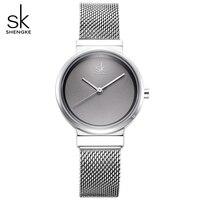 SHENGKE Simple Gray Watches Women Fashion Quartz Watch Luxury Brand Wristwatches For Lady Clock 2018 New Style Relogio Feminino