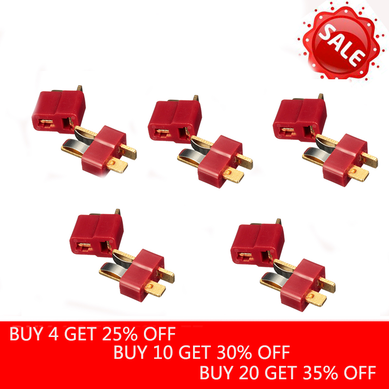 10PCS/5Pairs T Plug Deans Connectors For RC LiPo Battery Helicopter Male & Female Connector Assortment Kit For Imax B6 Charger