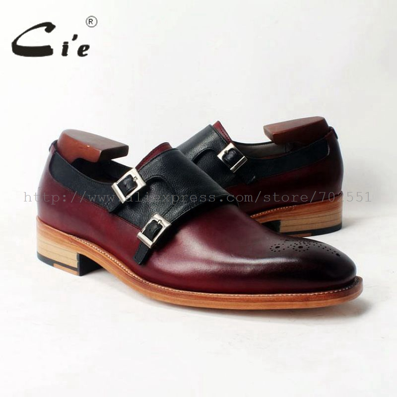 Ci'e Gratis frakt Håndlaget menn Square Toe Double Monk Straps Lær Goodyear Welt Craft Sko Farge Deep Wine / Black No.MS50