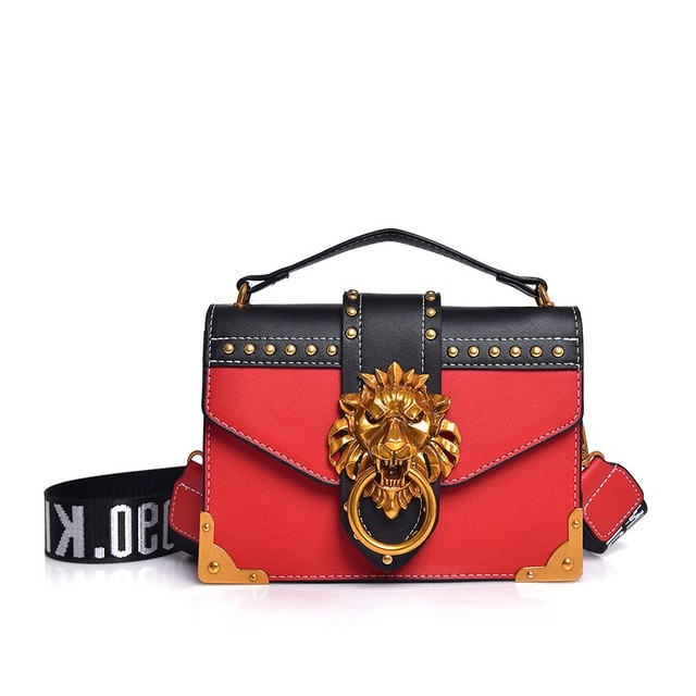 Luxury Famous Brand Shoulder Bags Female Lion Head Lock Handbag Women PU  Leather Messenger Crossbody Bags Fashion Party Clutch 38414ba44df53