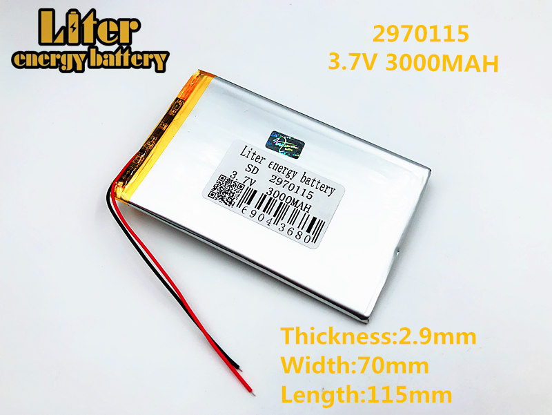3,7 V 3000 mah аккумулятор для планшета брендовый планшетный полимерный литиевый аккумулятор 2970115 7 дюймов планшетный ПК аккумуляторной батареи