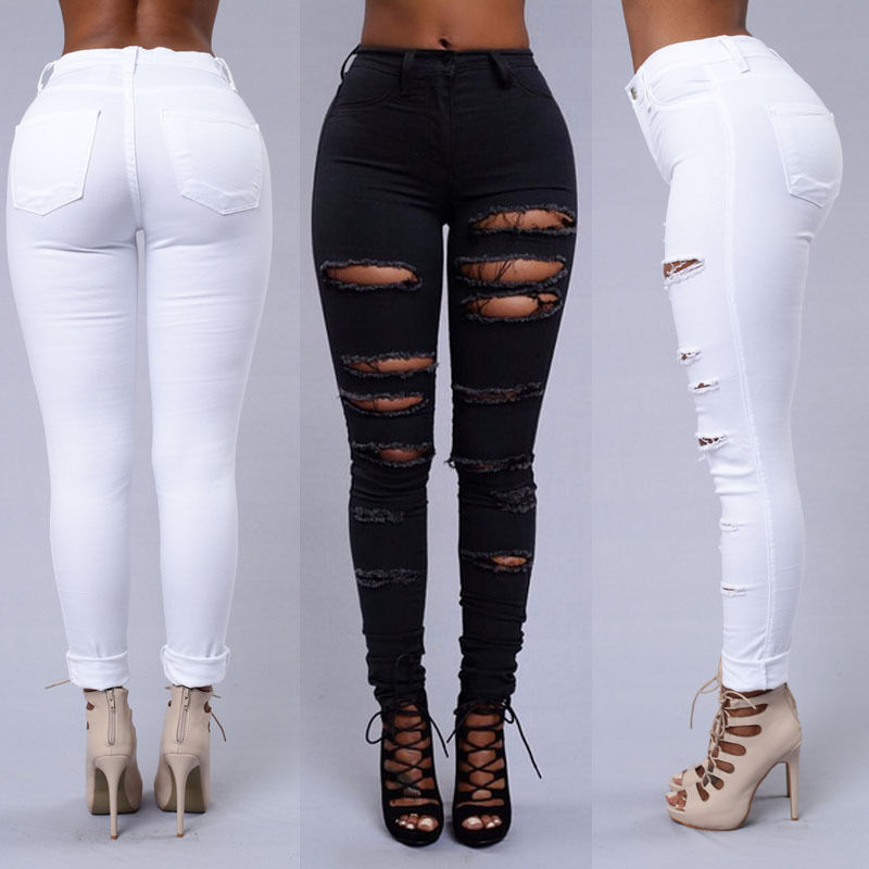 22e45f454e1 Dames Ripped Knie Sexy Skinny Jeans Womens High Waisted Jegging Broek Zwart  Wit Kostuum in Dames Ripped Knie Sexy Skinny Jeans Womens High Waisted  Jegging ...