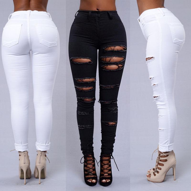 ca203b0b4d US $8.46 23% di SCONTO Signore Strappato Ginocchio Sexy Skinny Jeans Delle  Donne A Vita Alta Jeggings Pantaloni Nero Bianco Costume in Signore ...