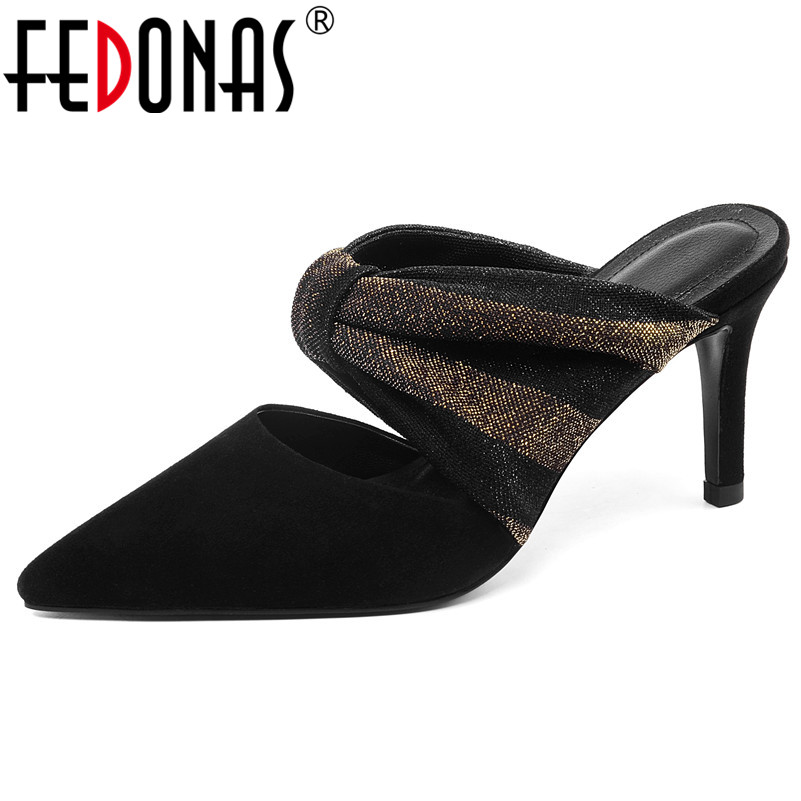 FEDONAS Fashion Women New Arrival Suede Leather Spring Summer Prom Party Night Club Shoes Woman Pointed Toe Mules High HeelsFEDONAS Fashion Women New Arrival Suede Leather Spring Summer Prom Party Night Club Shoes Woman Pointed Toe Mules High Heels